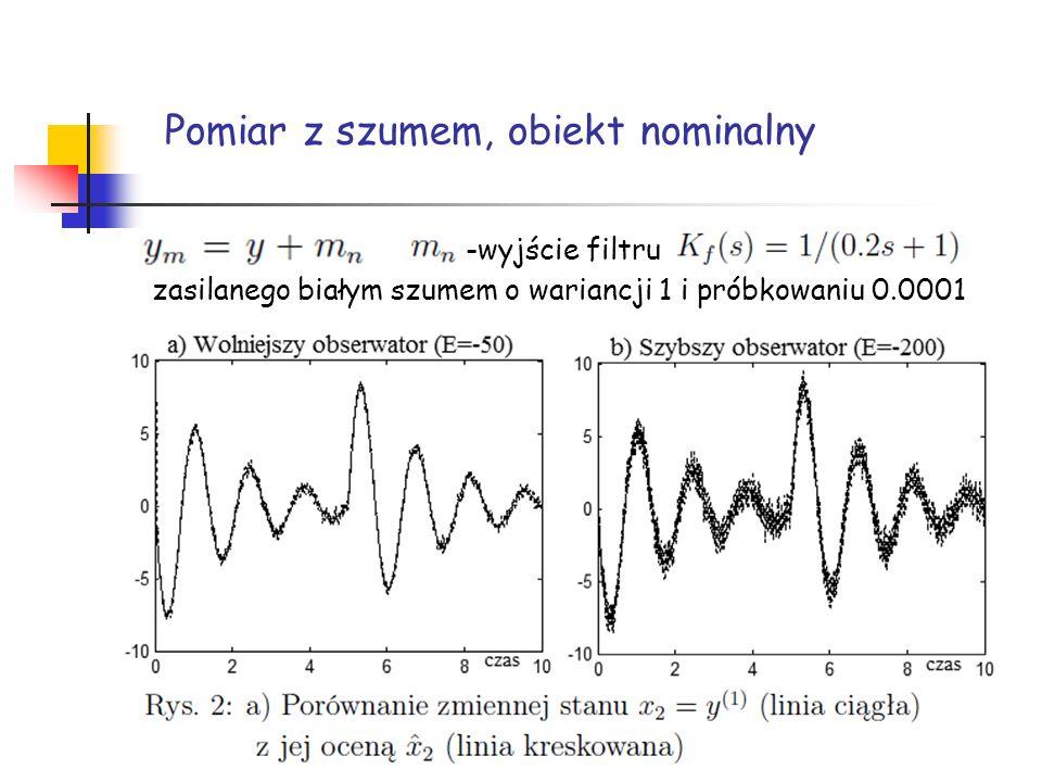 Pomiar z szumem, obiekt nominalny -wyjście filtru zasilanego białym szumem o wariancji 1 i próbkowaniu 0.0001