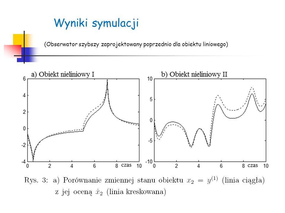 Wyniki symulacji (Obserwator szybszy zaprojektowany poprzednio dla obiektu liniowego)