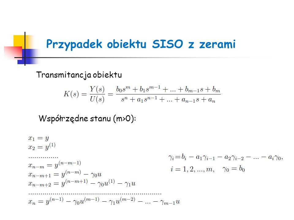 Przypadek obiektu SISO z zerami Transmitancja obiektu Współrzędne stanu (m>0):