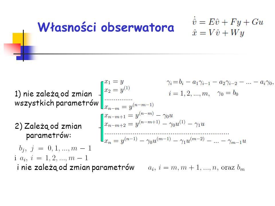 Własności obserwatora 1) nie zależą od zmian wszystkich parametrów 2) Zależą od zmian parametrów: i nie zależą od zmian parametrów