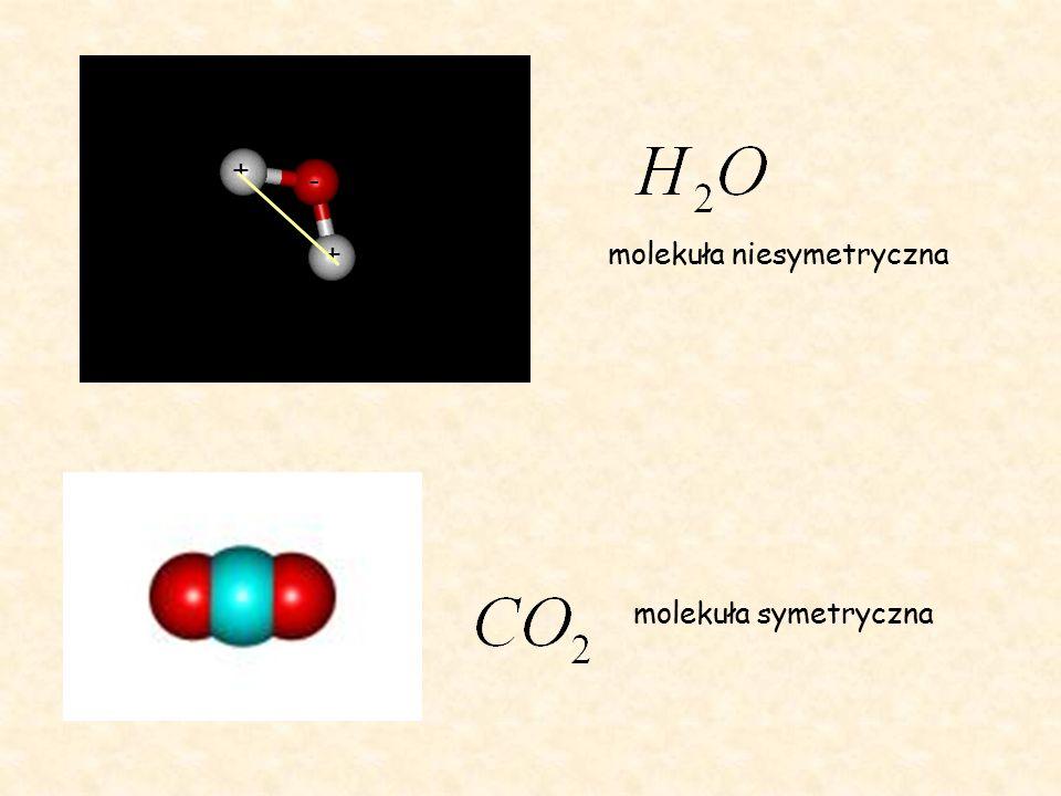 + + - molekuła niesymetryczna molekuła symetryczna