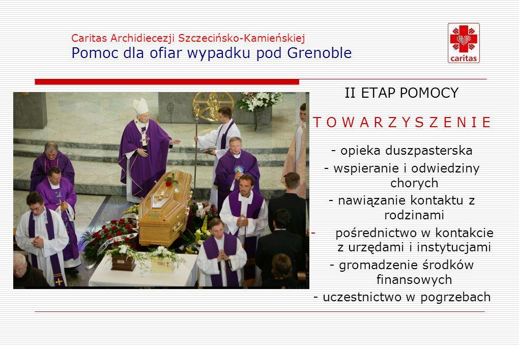 Caritas Archidiecezji Szczecińsko-Kamieńskiej Pomoc dla ofiar wypadku pod Grenoble II ETAP POMOCY T O W A R Z Y S Z E N I ET O W A R Z Y S Z E N I E - opieka duszpasterska - wspieranie i odwiedziny chorych - nawiązanie kontaktu z rodzinami -pośrednictwo w kontakcie z urzędami i instytucjami - gromadzenie środków finansowych - uczestnictwo w pogrzebach