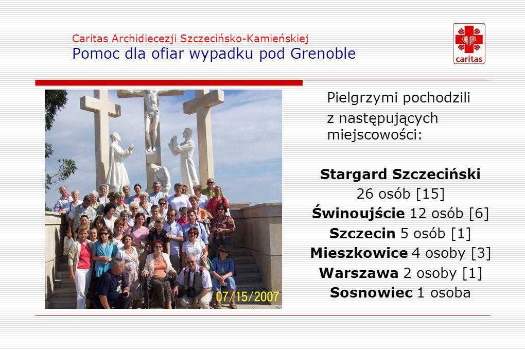 Caritas Archidiecezji Szczecińsko-Kamieńskiej Pomoc dla ofiar wypadku pod Grenoble Pielgrzymi pochodzili z następujących miejscowości: Stargard Szczeciński 26 osób [15] Świnoujście 12 osób [6] Szczecin 5 osób [1] Mieszkowice 4 osoby [3] Warszawa 2 osoby [1] Sosnowiec 1 osoba