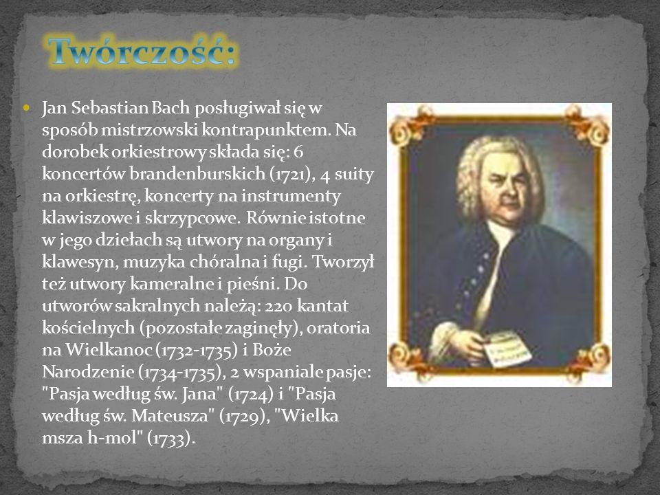 Dorobek kompozycji na instrumenty klawiszowe obejmuje zbiór 48 preludiów i fug zatytułowany: Das Wohltemperierte Klavier (1722- 1744), Wariacje Goldbergowskie (1742), Koncert włoski (1734), organowe preludia chorałowe.