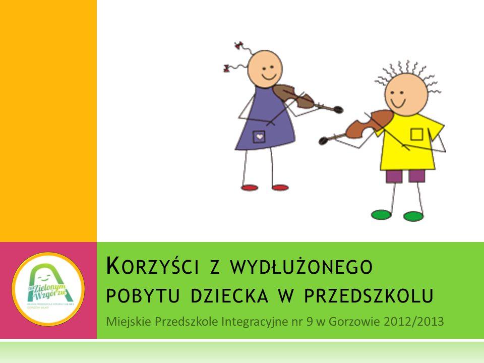 Miejskie Przedszkole Integracyjne nr 9 w Gorzowie 2012/2013 K ORZYŚCI Z WYDŁUŻONEGO POBYTU DZIECKA W PRZEDSZKOLU