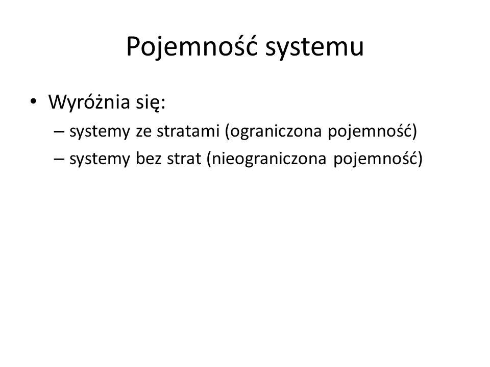 Pojemność systemu Wyróżnia się: – systemy ze stratami (ograniczona pojemność) – systemy bez strat (nieograniczona pojemność)