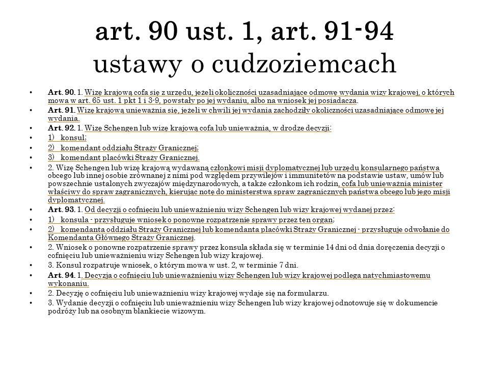 art. 90 ust. 1, art. 91-94 ustawy o cudzoziemcach Art. 90. 1. Wizę krajową cofa się z urzędu, jeżeli okoliczności uzasadniające odmowę wydania wizy kr
