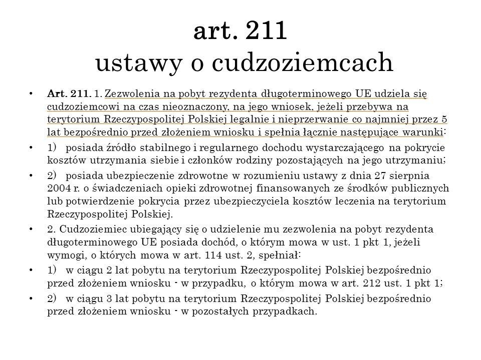art. 211 ustawy o cudzoziemcach Art. 211. 1. Zezwolenia na pobyt rezydenta długoterminowego UE udziela się cudzoziemcowi na czas nieoznaczony, na jego