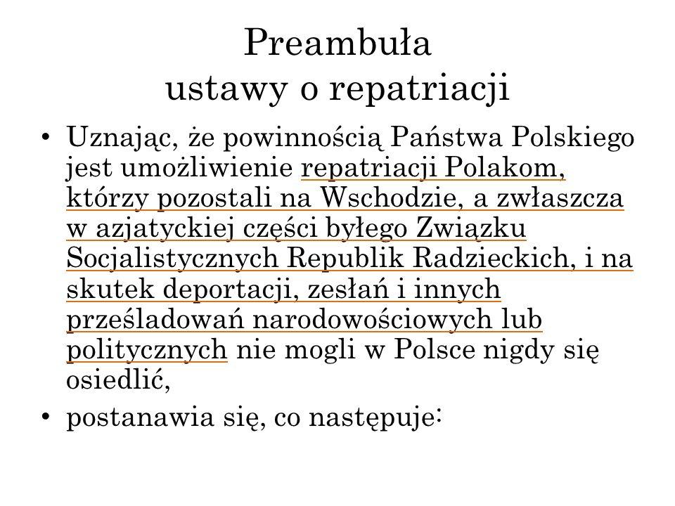 Preambuła ustawy o repatriacji Uznając, że powinnością Państwa Polskiego jest umożliwienie repatriacji Polakom, którzy pozostali na Wschodzie, a zwłas