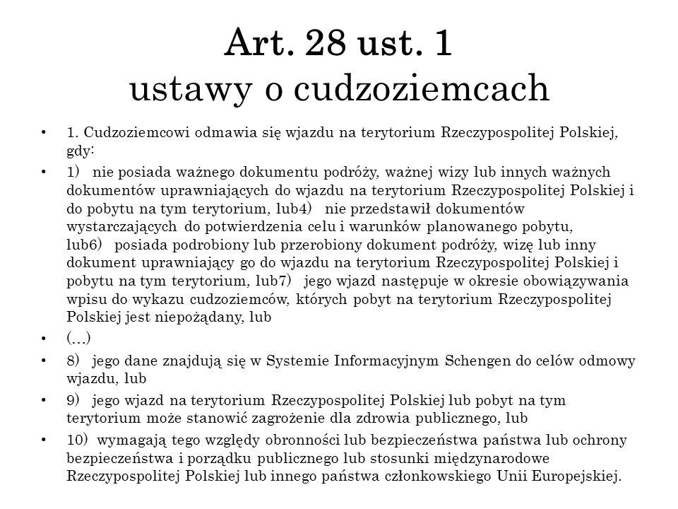 Art. 28 ust. 1 ustawy o cudzoziemcach 1. Cudzoziemcowi odmawia się wjazdu na terytorium Rzeczypospolitej Polskiej, gdy: 1) nie posiada ważnego dokumen