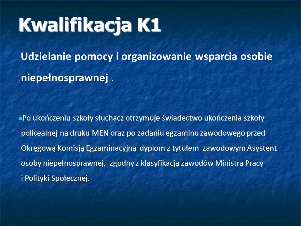 Kwalifikacja K1 Kwalifikacja K1 Udzielanie pomocy i organizowanie wsparcia osobie niepełnosprawnej. Po ukończeniu szkoły słuchacz otrzymuje świadectwo