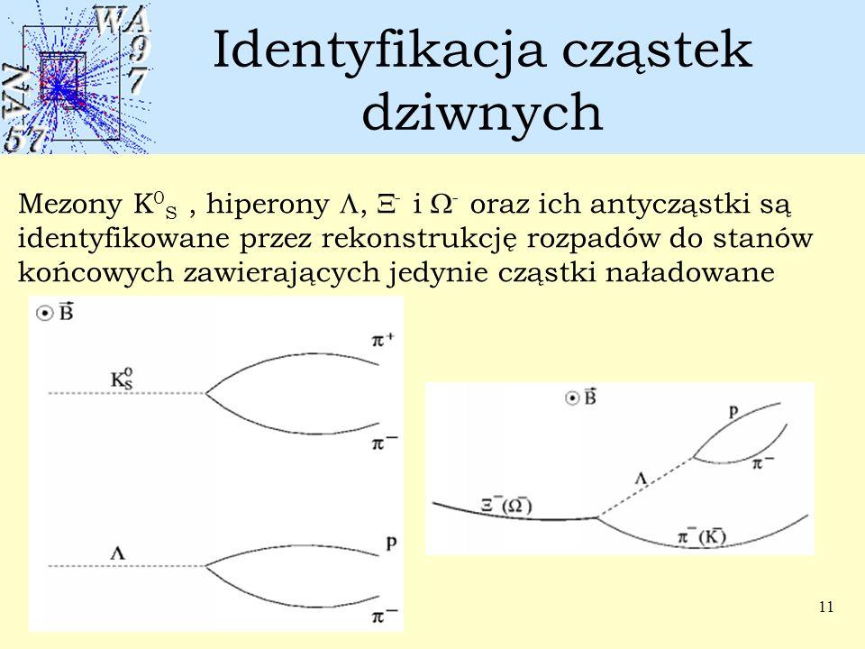 11 Identyfikacja cząstek dziwnych Mezony K 0 S, hiperony ,  - i  - oraz ich antycząstki są identyfikowane przez rekonstrukcję rozpadów do stanów ko