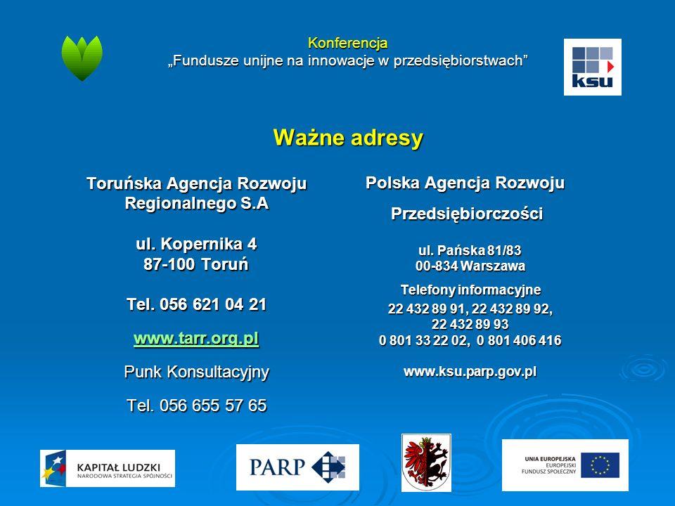 """Konferencja """"Fundusze unijne na innowacje w przedsiębiorstwach"""" Ważne adresy Toruńska Agencja Rozwoju Regionalnego S.A ul. Kopernika 4 87-100 Toruń Te"""
