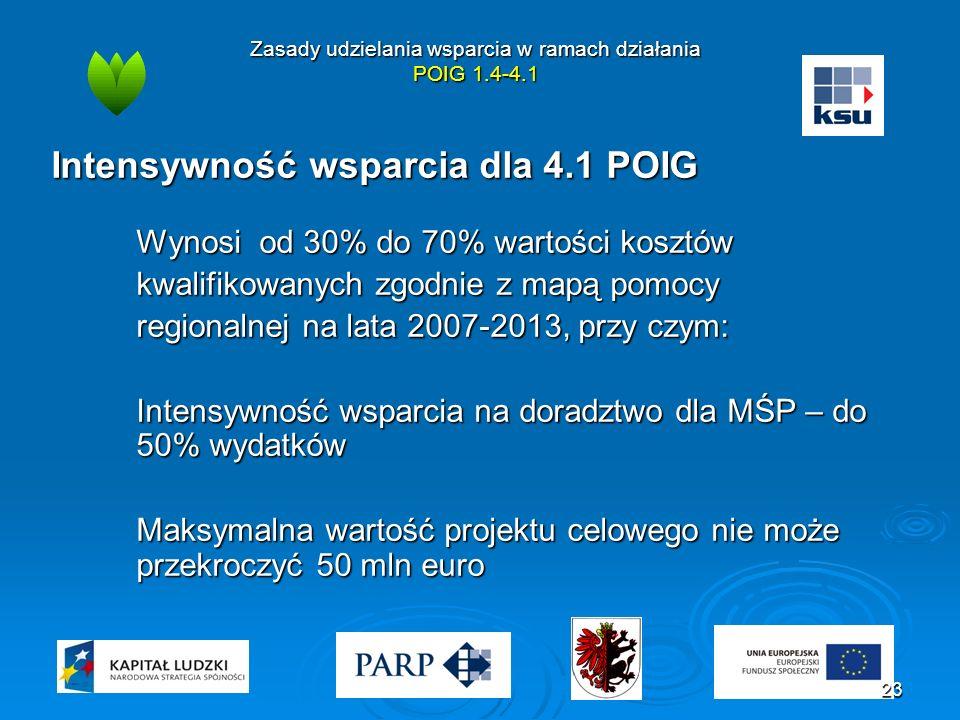 Zasady udzielania wsparcia w ramach działania POIG 1.4-4.1 Intensywność wsparcia dla 4.1 POIG Wynosi od 30% do 70% wartości kosztów kwalifikowanych zgodnie z mapą pomocy regionalnej na lata 2007-2013, przy czym: Intensywność wsparcia na doradztwo dla MŚP – do 50% wydatków Maksymalna wartość projektu celowego nie może przekroczyć 50 mln euro 23