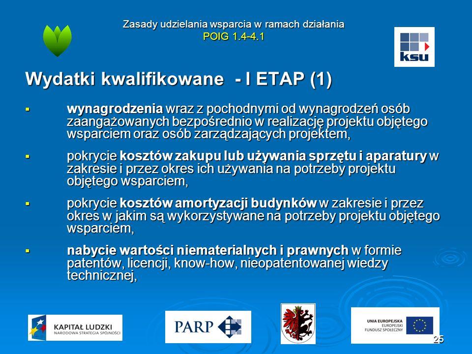 Zasady udzielania wsparcia w ramach działania POIG 1.4-4.1 Wydatki kwalifikowane - I ETAP (1)  wynagrodzenia wraz z pochodnymi od wynagrodzeń osób za