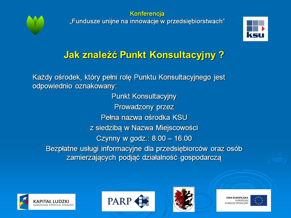 """Konferencja """"Fundusze unijne na innowacje w przedsiębiorstwach"""" Jak znaleźć Punkt Konsultacyjny ? Każdy ośrodek, który pełni rolę Punktu Konsultacyjne"""