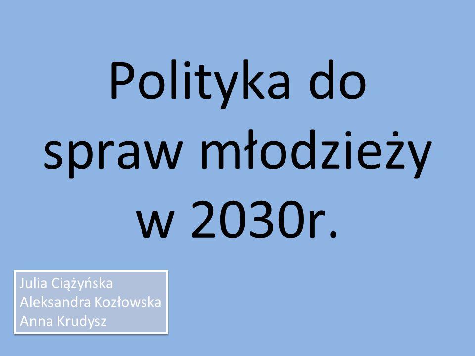 Polityka do spraw młodzieży w 2030r. Julia Ciążyńska Aleksandra Kozłowska Anna Krudysz Julia Ciążyńska Aleksandra Kozłowska Anna Krudysz
