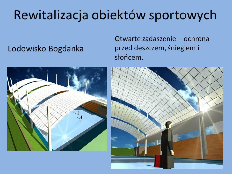 Rewitalizacja obiektów sportowych Lodowisko Bogdanka Otwarte zadaszenie – ochrona przed deszczem, śniegiem i słońcem.