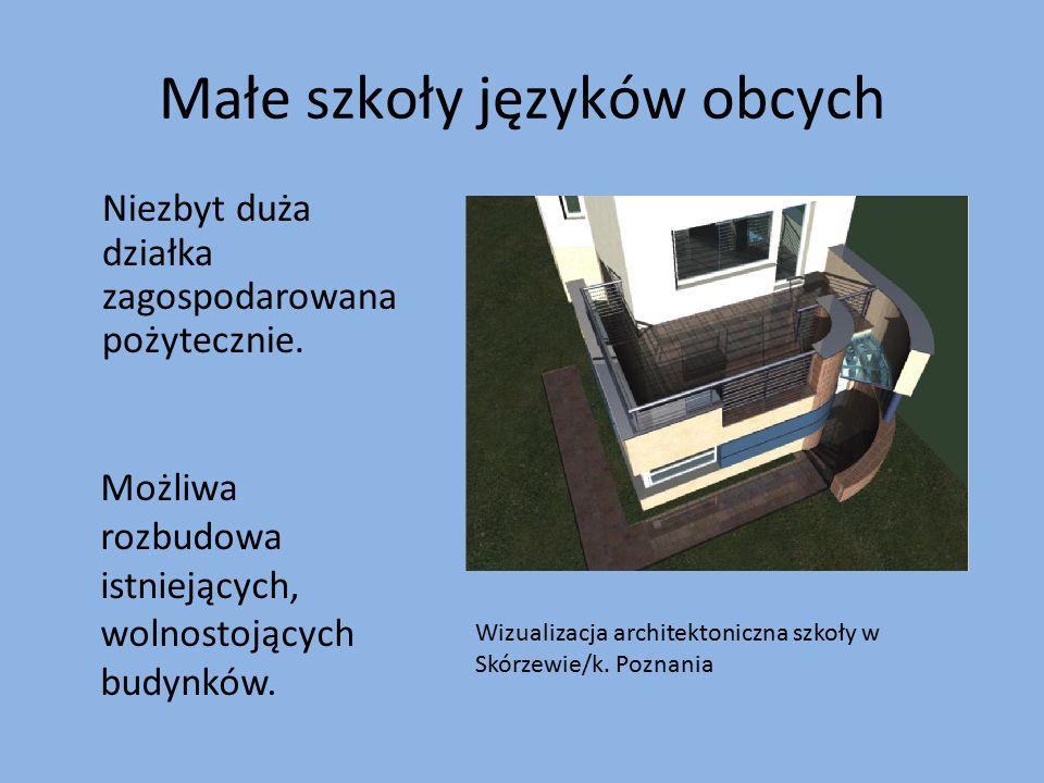 Małe szkoły języków obcych Niezbyt duża działka zagospodarowana pożytecznie. Możliwa rozbudowa istniejących, wolnostojących budynków. Wizualizacja arc