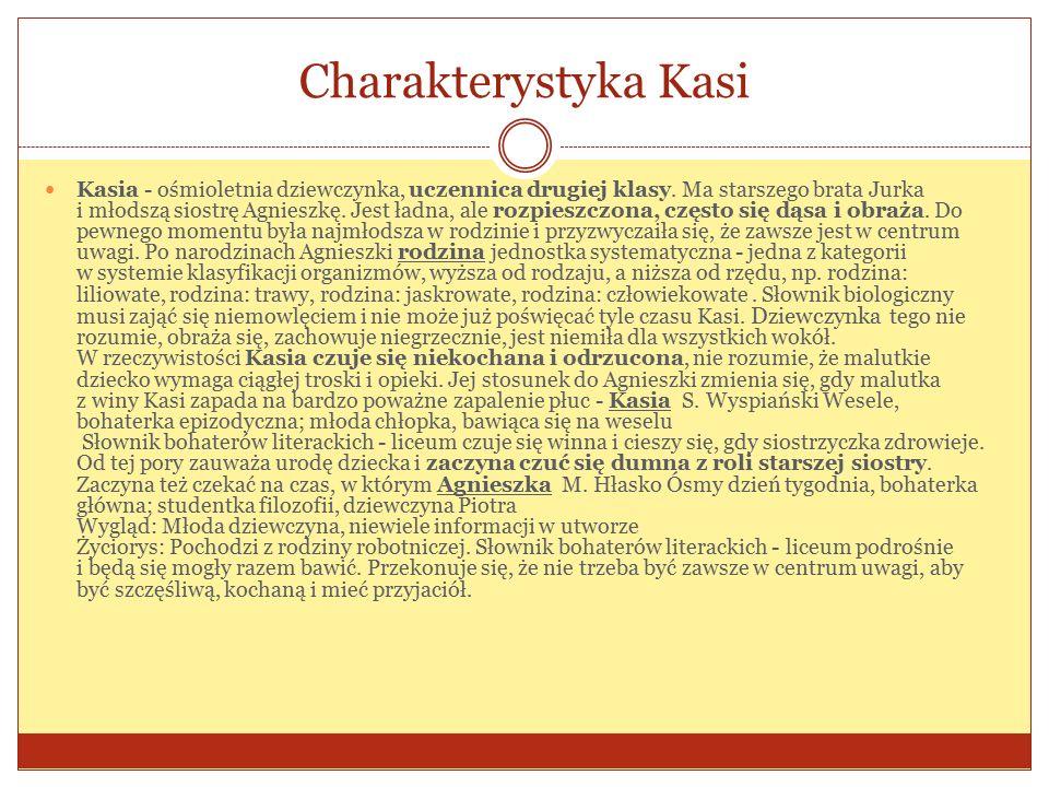 Charakterystyka Kasi Kasia - ośmioletnia dziewczynka, uczennica drugiej klasy.