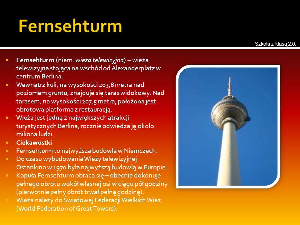  Fernsehturm (niem. wieża telewizyjna) – wieża telewizyjna stojąca na wschód od Alexanderplatz w centrum Berlina.  Wewnątrz kuli, na wysokości 203,8