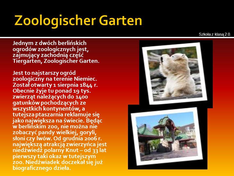 Jednym z dwóch berlińskich ogrodów zoologicznych jest, zajmujący zachodnią część Tiergarten, Zoologischer Garten.