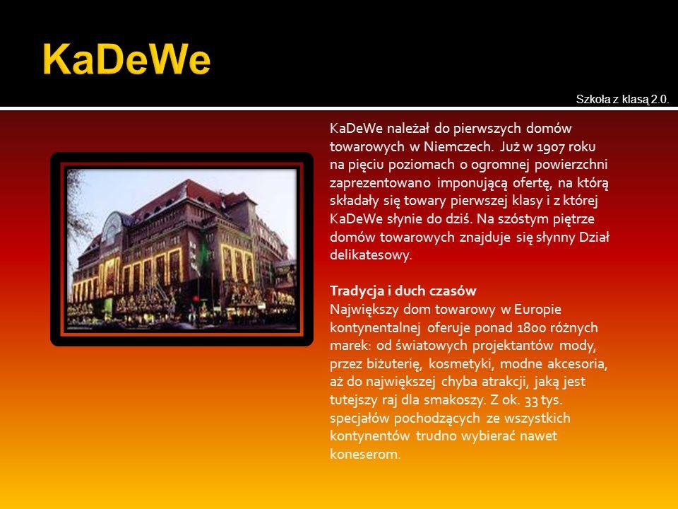 KaDeWe należał do pierwszych domów towarowych w Niemczech. Już w 1907 roku na pięciu poziomach o ogromnej powierzchni zaprezentowano imponującą ofertę