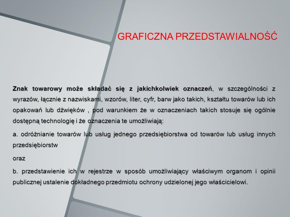 GRAFICZNA PRZEDSTAWIALNOŚĆ Znak towarowy może składać się z jakichkolwiek oznaczeń, w szczególności z wyrazów, łącznie z nazwiskami, wzorów, liter, cy