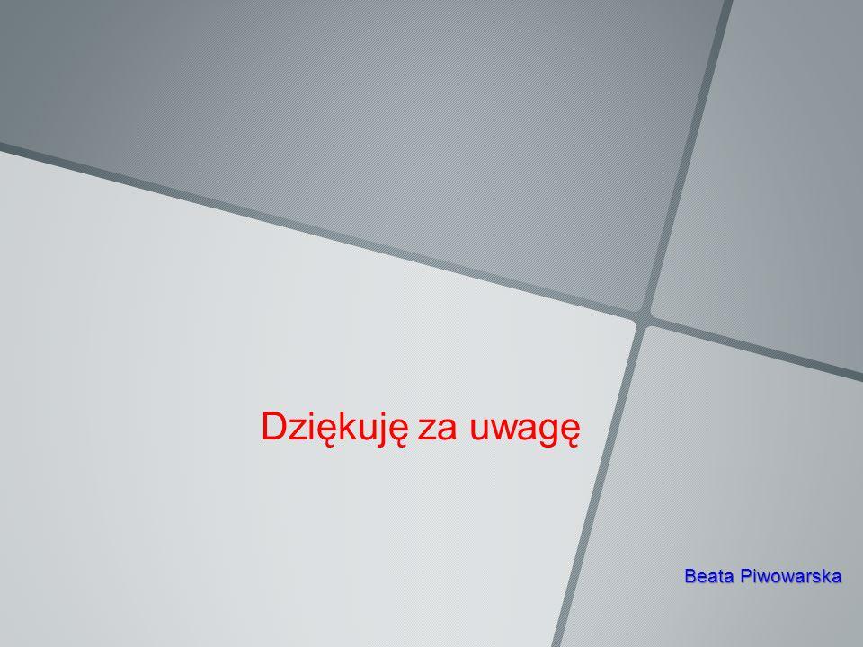 Dziękuję za uwagę Beata Piwowarska