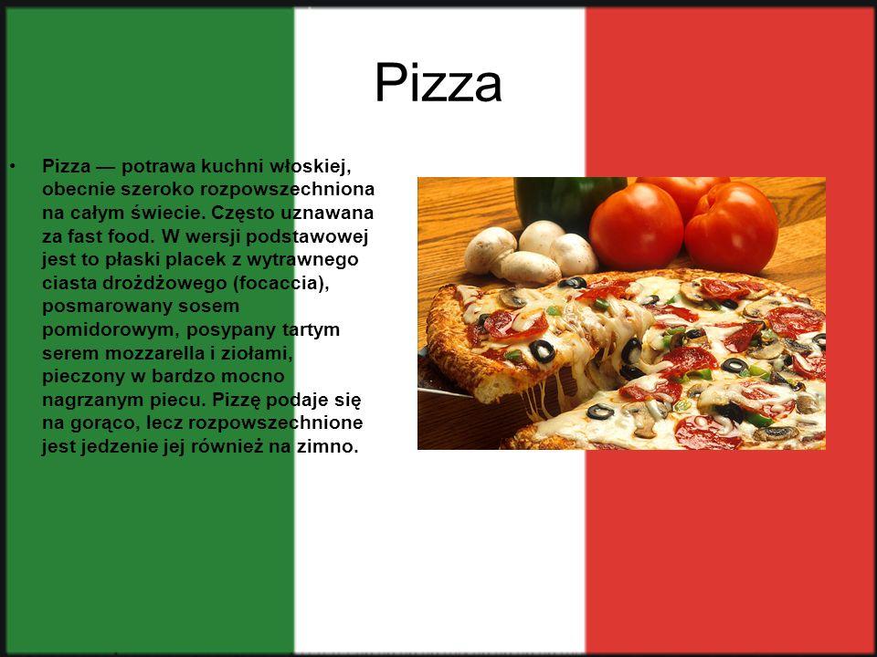 Spagetti Spaghetti – specyficznie włoska potrawa i jednocześnie nazwa szczególnego rodzaju makaronu, który stanowi jej podstawę.Typowe danie spaghetti składa się z porcji świeżo ugotowanego makaronu wymieszanego z odpowiednim sosem i posypanego serem (we Włoszech najczęściej parmezanem lub pecorino).