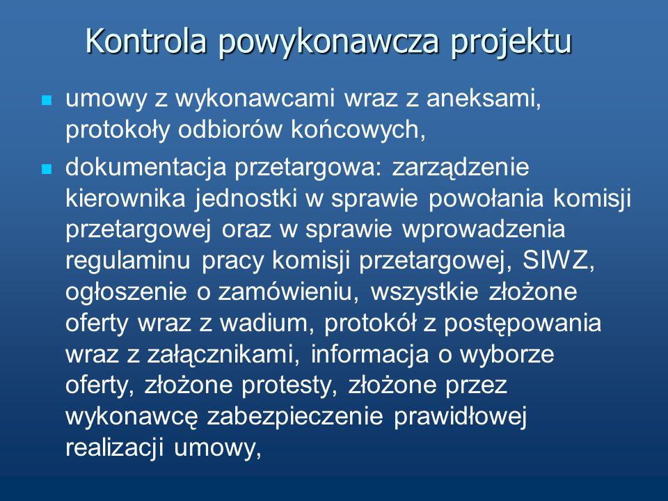 Wizyta monitorująca pierwsza wizyta o charakterze kontrolnym, kontroli podlegały: procedury zamówień publicznych, umowy z wykonawcami, protokoły odbioru, dokumentacja finansowa, dokumenty potwierdzające promocję źródła finansowania i sposób informacji o projekcie, oryginały dokumentów złożonych przez Miasto Poznań wraz z wnioskiem aplikacyjnym.