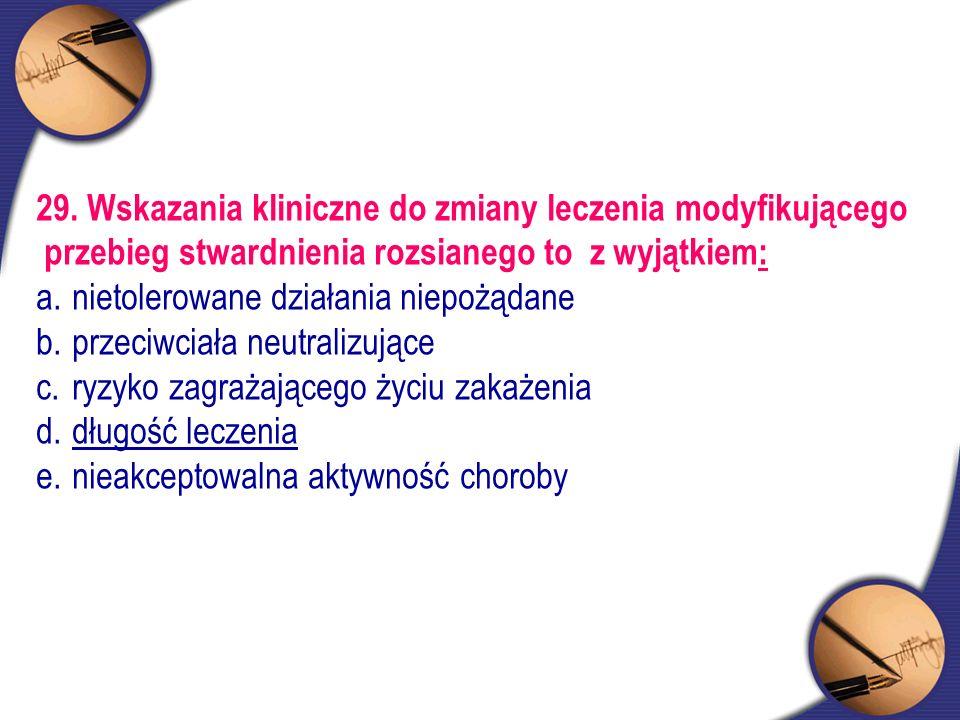 29. Wskazania kliniczne do zmiany leczenia modyfikującego przebieg stwardnienia rozsianego to z wyjątkiem: a.nietolerowane działania niepożądane b.prz