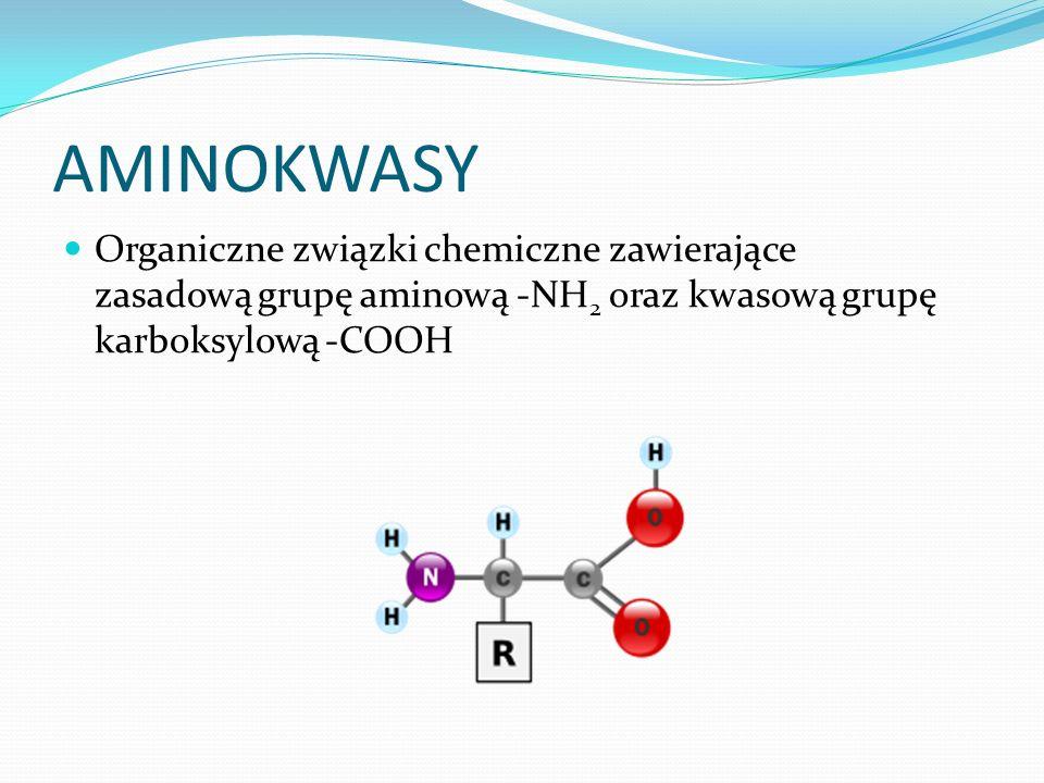 AMINOKWASY Organiczne związki chemiczne zawierające zasadową grupę aminową -NH 2 oraz kwasową grupę karboksylową -COOH