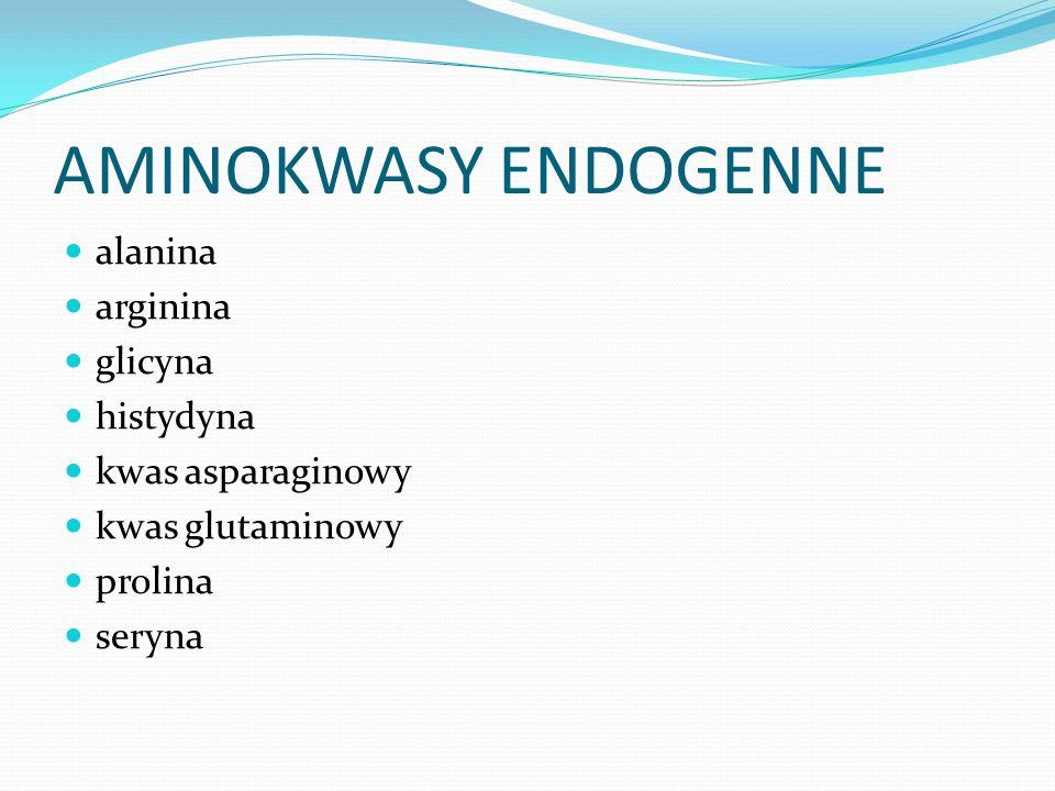 AMINOKWASY ENDOGENNE alanina arginina glicyna histydyna kwas asparaginowy kwas glutaminowy prolina seryna