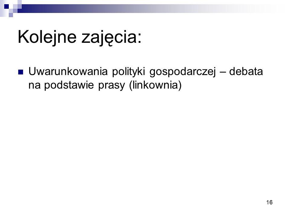 16 Kolejne zajęcia: Uwarunkowania polityki gospodarczej – debata na podstawie prasy (linkownia)