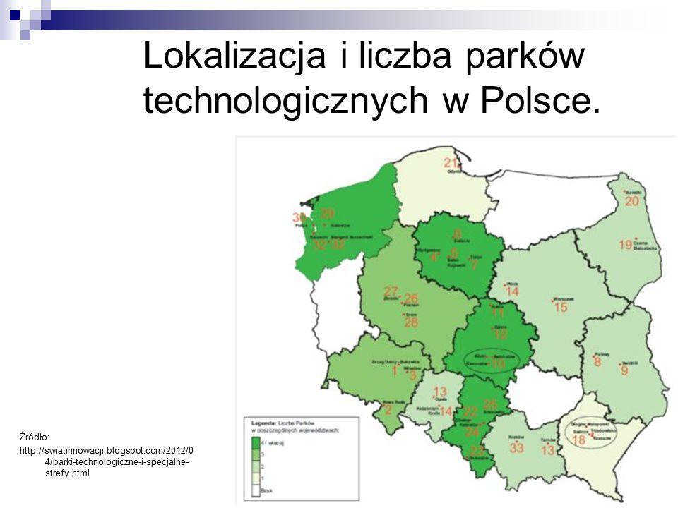 Lokalizacja i liczba parków technologicznych w Polsce.