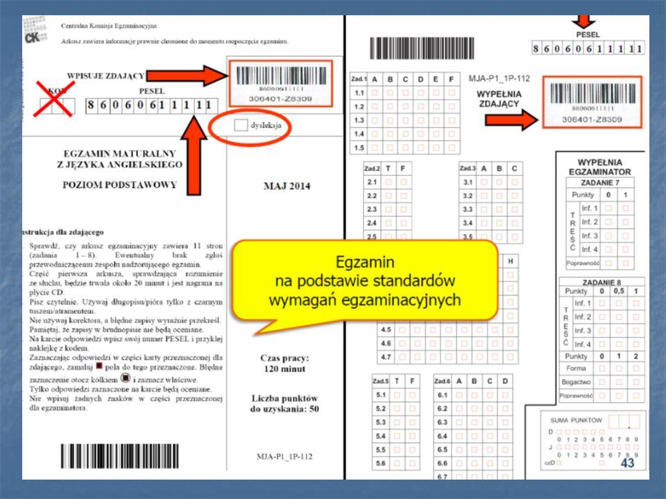 O 8.50 lub 13.50 uczniowie powinni zająć miejsca, jeszcze raz przypominamy procedury egzaminu (samodzielność, kodowanie, pisanie tylko (!) czarnym kolorem (zakaz korzystania z ołówków), dozwolone materiały i przybory pomocnicze, zasady wychodzenia z sali).