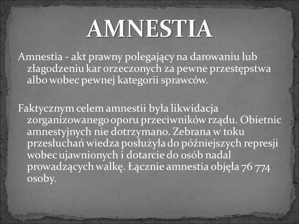 Amnestia - akt prawny polegający na darowaniu lub złagodzeniu kar orzeczonych za pewne przestępstwa albo wobec pewnej kategorii sprawców.