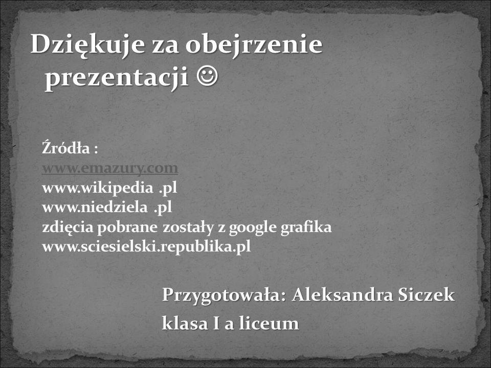Dziękuje za obejrzenie prezentacji Dziękuje za obejrzenie prezentacji Przygotowała: Aleksandra Siczek klasa I a liceum