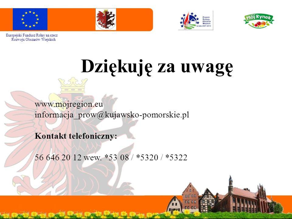 Dziękuję za uwagę www.mojregion.eu informacja_prow@kujawsko-pomorskie.pl Kontakt telefoniczny: 56 646 20 12 wew. *53 08 / *5320 / *5322 Europejski Fun