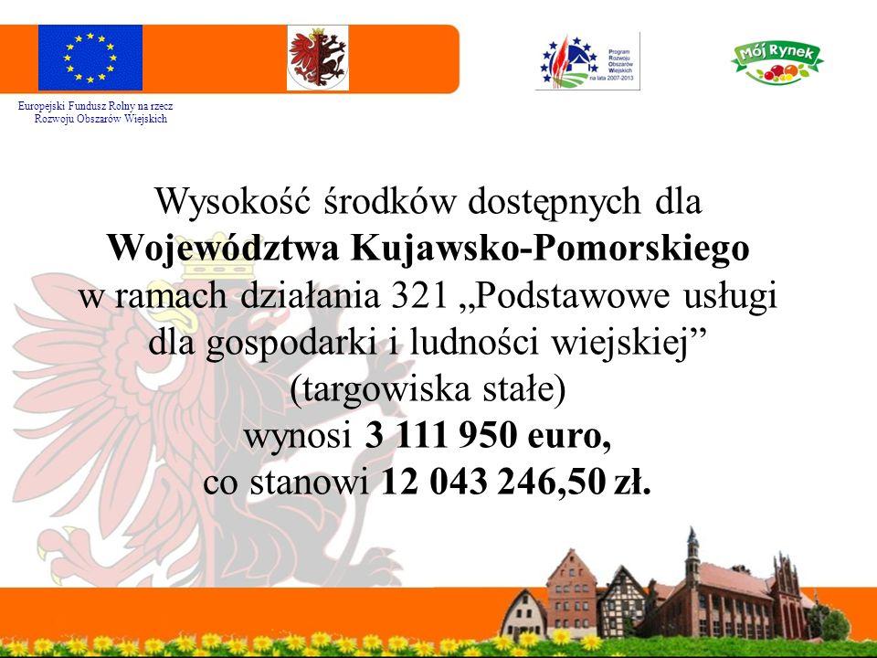 """Wysokość środków dostępnych dla Województwa Kujawsko-Pomorskiego w ramach działania 321 """"Podstawowe usługi dla gospodarki i ludności wiejskiej"""" (targo"""