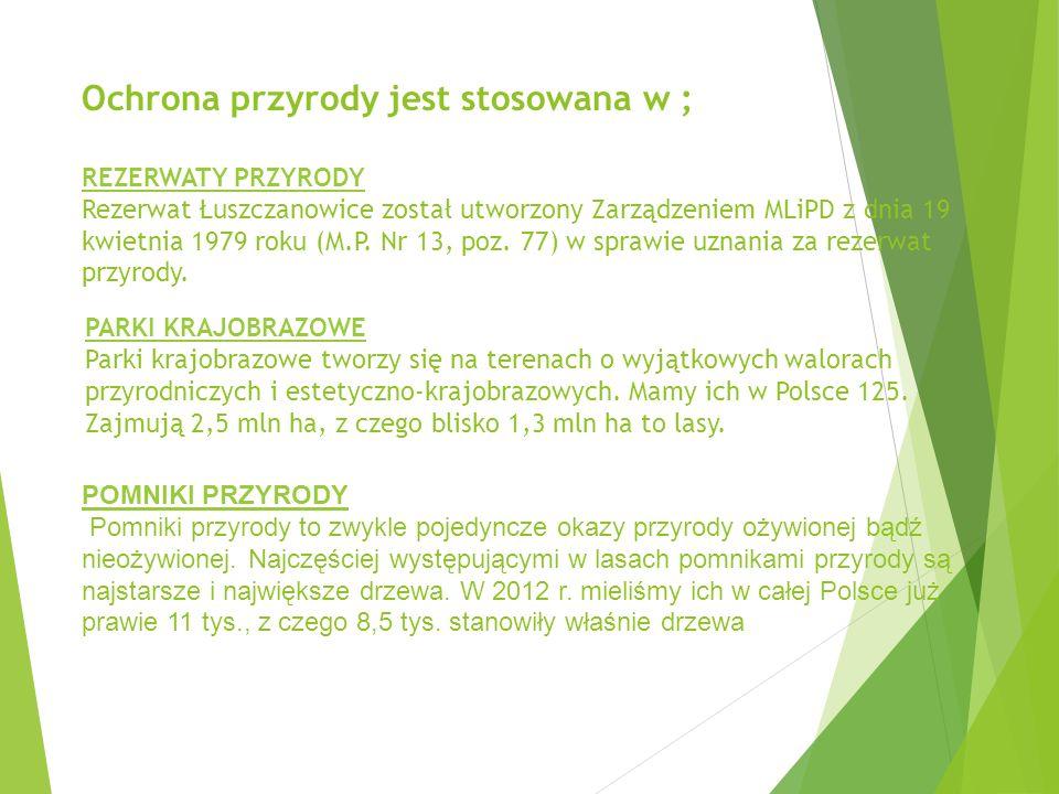 Ochrona przyrody jest stosowana w ; REZERWATY PRZYRODY Rezerwat Łuszczanowice został utworzony Zarządzeniem MLiPD z dnia 19 kwietnia 1979 roku (M.P.