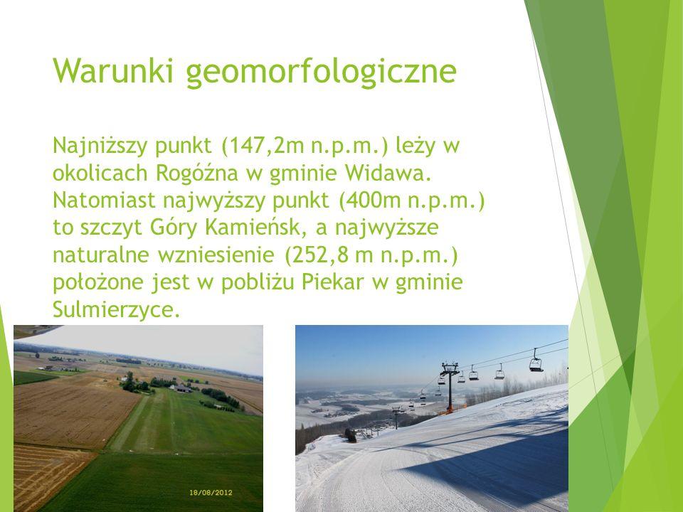 Warunki geomorfologiczne Najniższy punkt (147,2m n.p.m.) leży w okolicach Rogóźna w gminie Widawa.