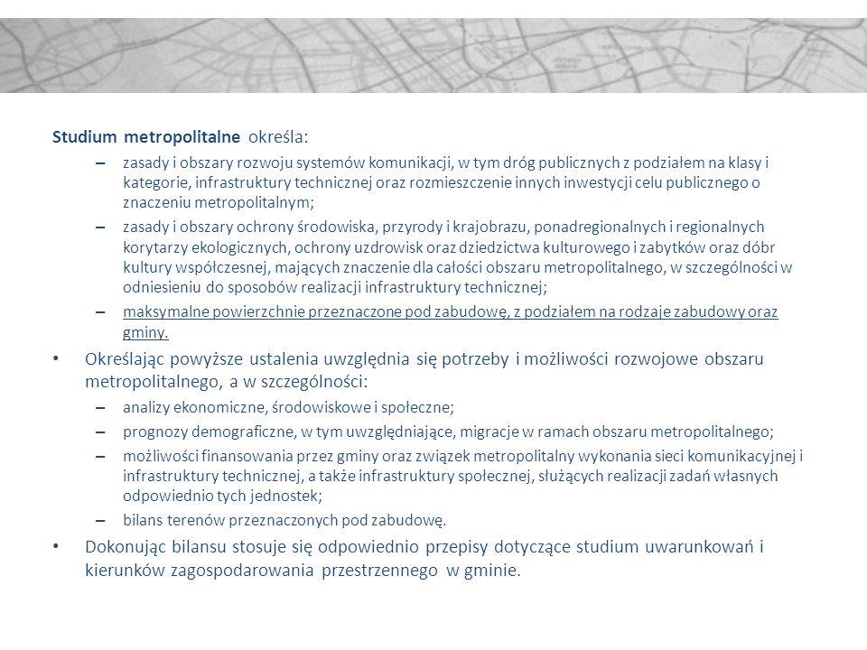 Studium metropolitalne określa: – zasady i obszary rozwoju systemów komunikacji, w tym dróg publicznych z podziałem na klasy i kategorie, infrastruktu