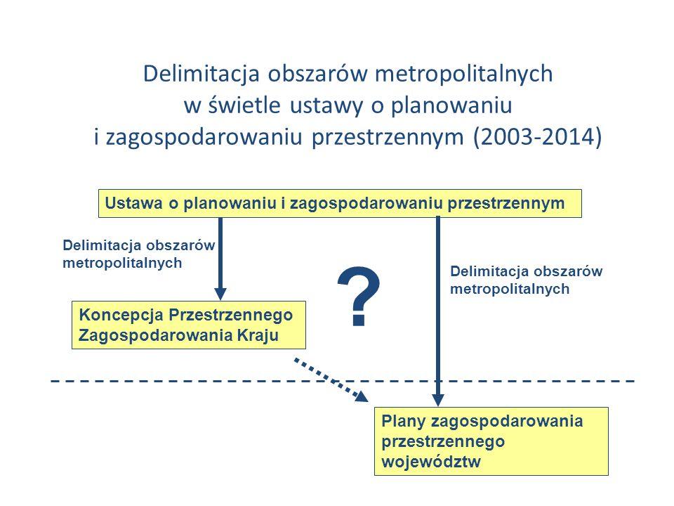 Ustawa o planowaniu i zagospodarowaniu przestrzennym ? Koncepcja Przestrzennego Zagospodarowania Kraju Delimitacja obszarów metropolitalnych Plany zag