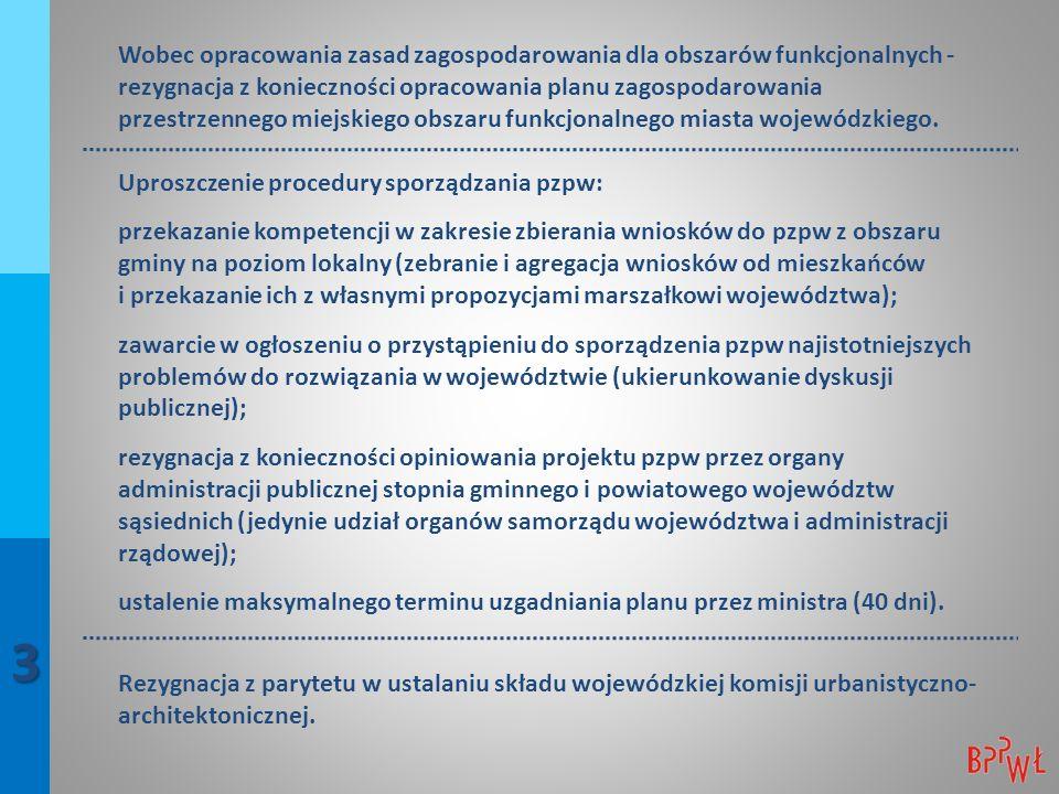 Wobec opracowania zasad zagospodarowania dla obszarów funkcjonalnych - rezygnacja z konieczności opracowania planu zagospodarowania przestrzennego miejskiego obszaru funkcjonalnego miasta wojewódzkiego.