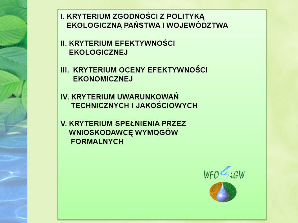I. KRYTERIUM ZGODNOŚCI Z POLITYKĄ EKOLOGICZNĄ PAŃSTWA I WOJEWÓDZTWA II.