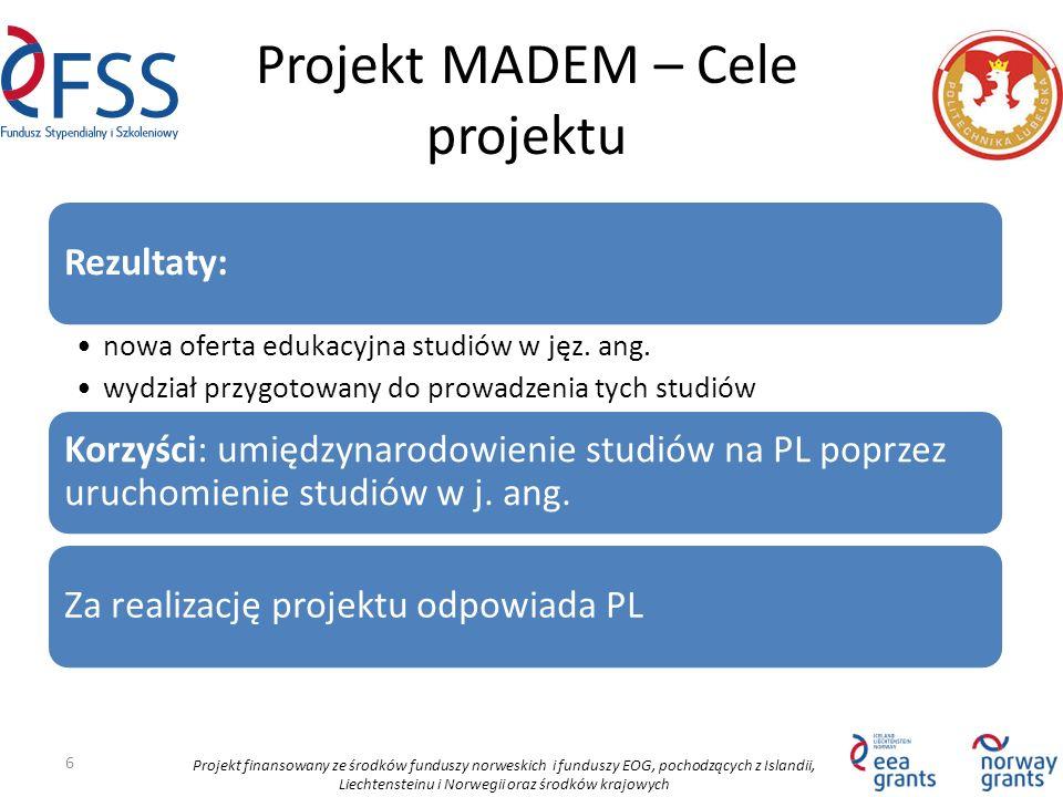 Projekt finansowany ze środków funduszy norweskich i funduszy EOG, pochodzących z Islandii, Liechtensteinu i Norwegii oraz środków krajowych Zadania merytoryczne Program studiów (opracowanie, KRK, sylabusy, efekty kształcenia, sylwetka absolwenta, zatwierdzenie) Dokumenty (regulaminy, praca dypl., ulotki- reklama) Przygotowanie materiałów dydaktycznych (wykładowe+laboratoryjne) Kursy e-learningowe (kontent) – 9 kursów Podręczniki-książki-monografie (160 str.) – 5 książek