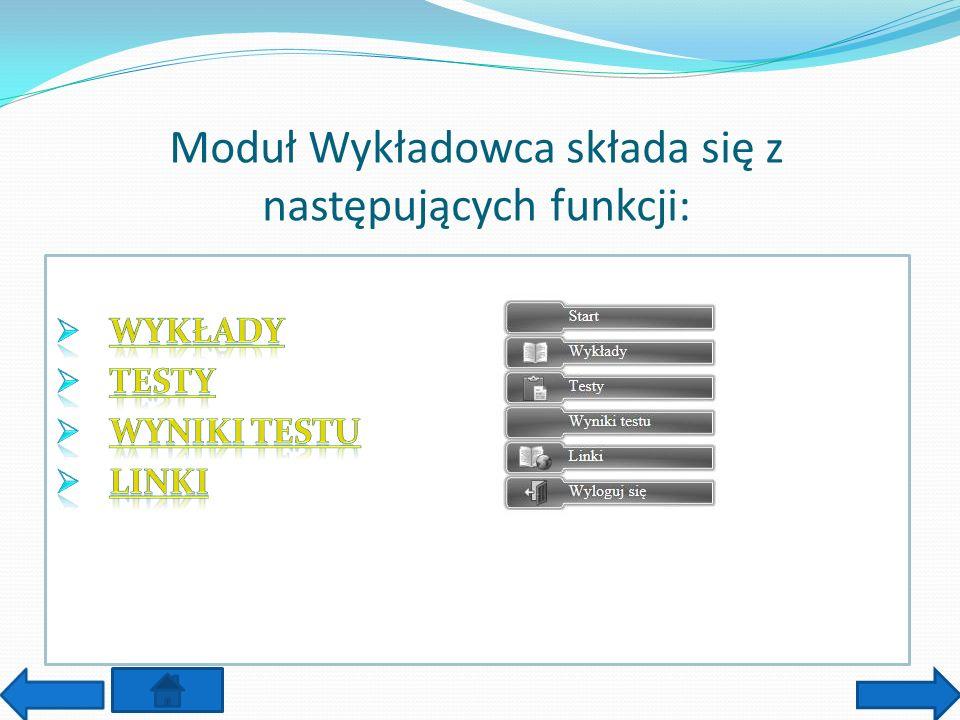 Moduł Wykładowca składa się z następujących funkcji: