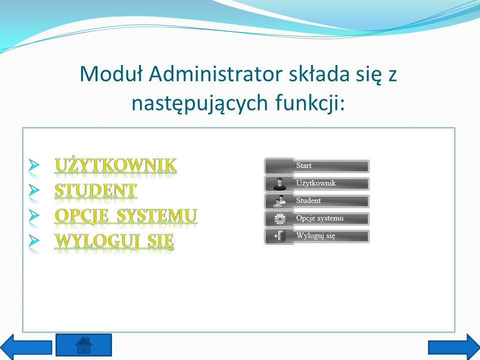 Moduł Administrator składa się z następujących funkcji: